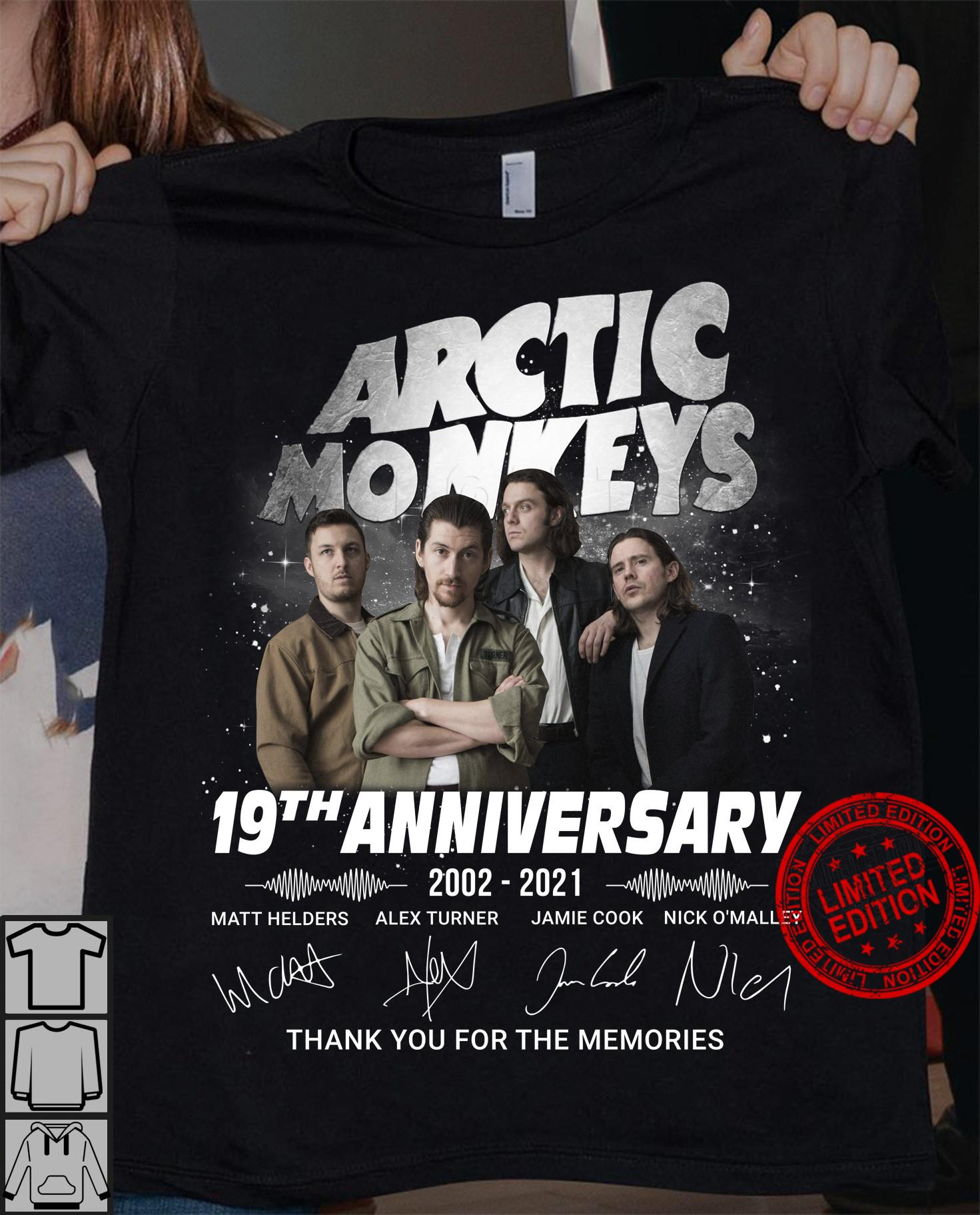 Arctic Monkeys 19th Anniversary 2002 2021 Thank You For The Memories Shirt