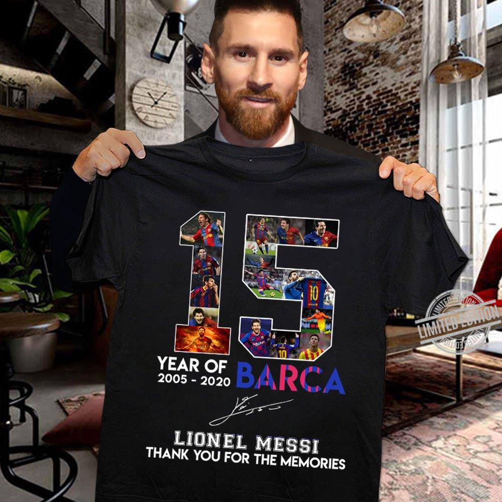 15 Years Of Barca Lionel Messi Signature Shirt