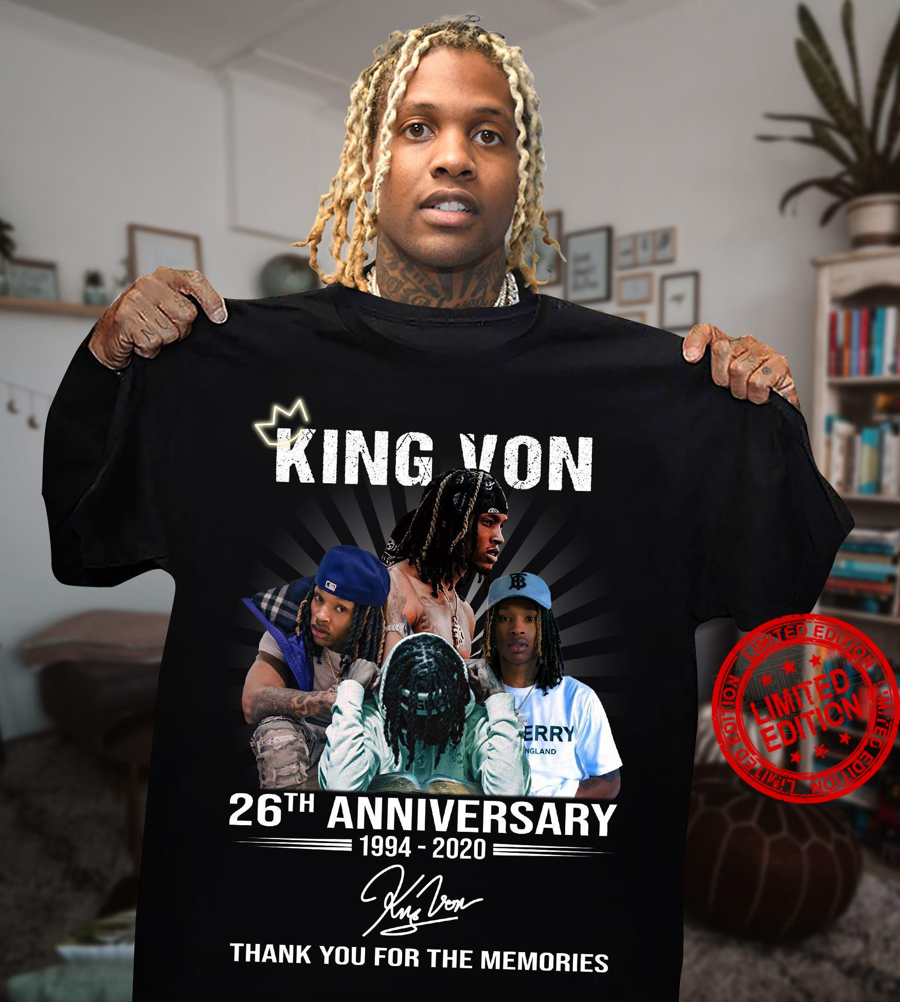 King Von 26th Anniversary 1994-2020 Thank You For The Memories Shirt