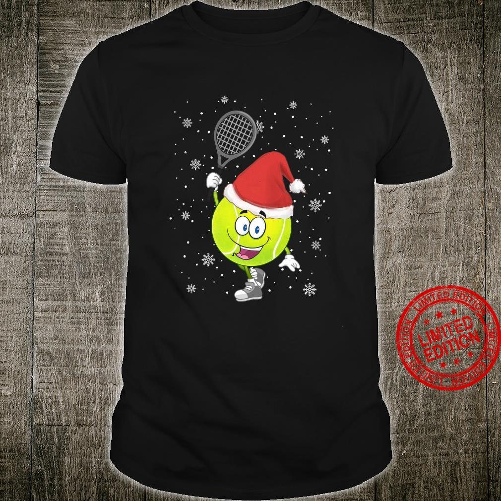 Tennis Ball And Santa Hat Merry Christmas Shirt unisex